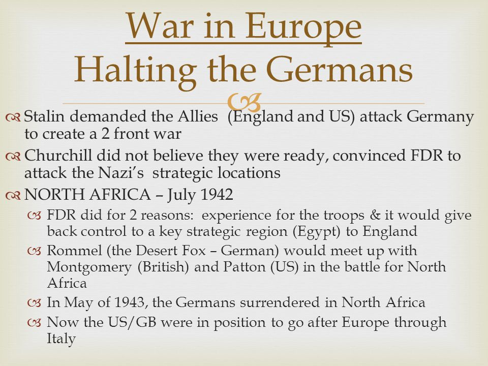 War in Europe Halting the Germans