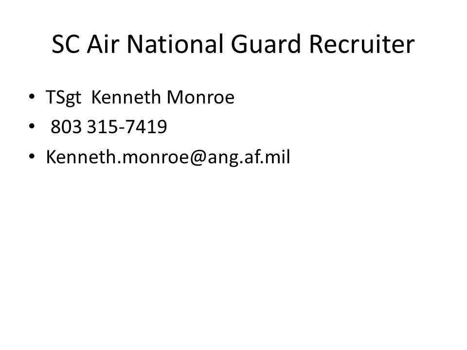 SC Air National Guard Recruiter