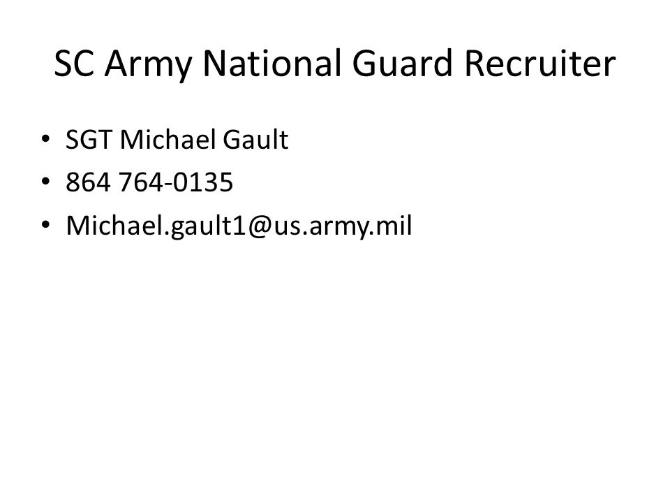 SC Army National Guard Recruiter