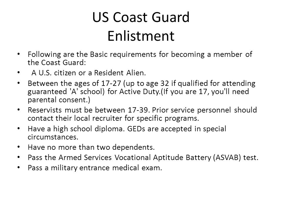 US Coast Guard Enlistment