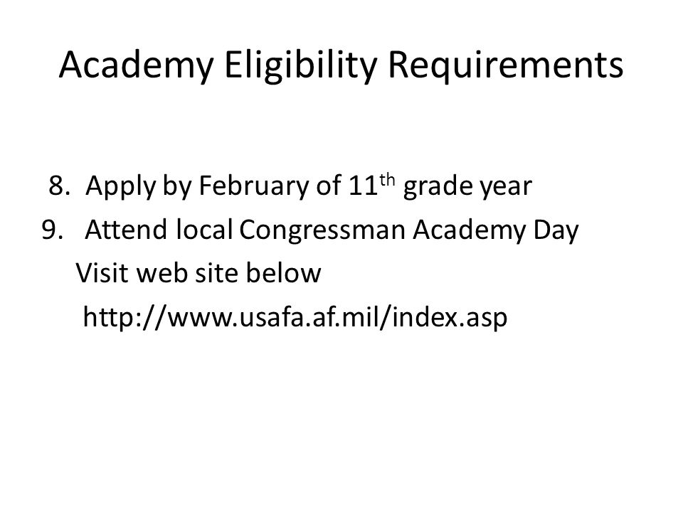Academy Eligibility Requirements