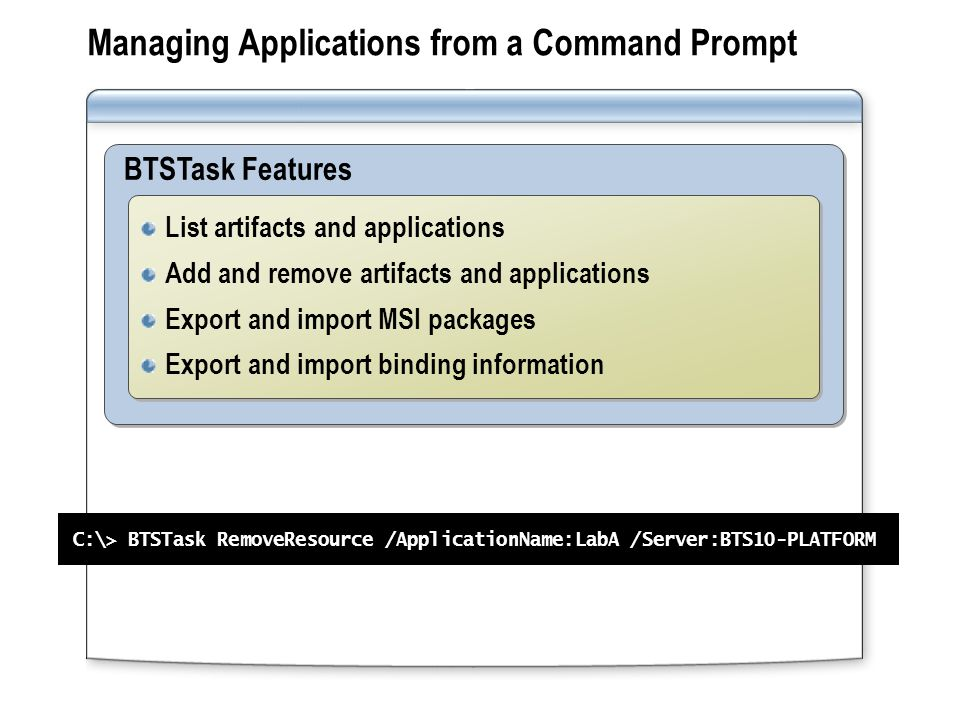 Managing Applications from a Command Prompt