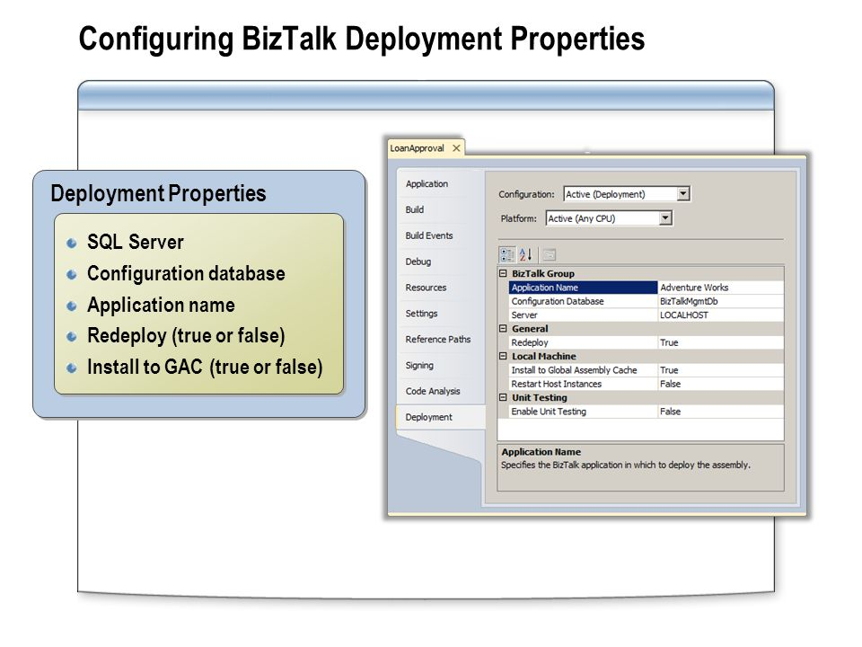 Configuring BizTalk Deployment Properties