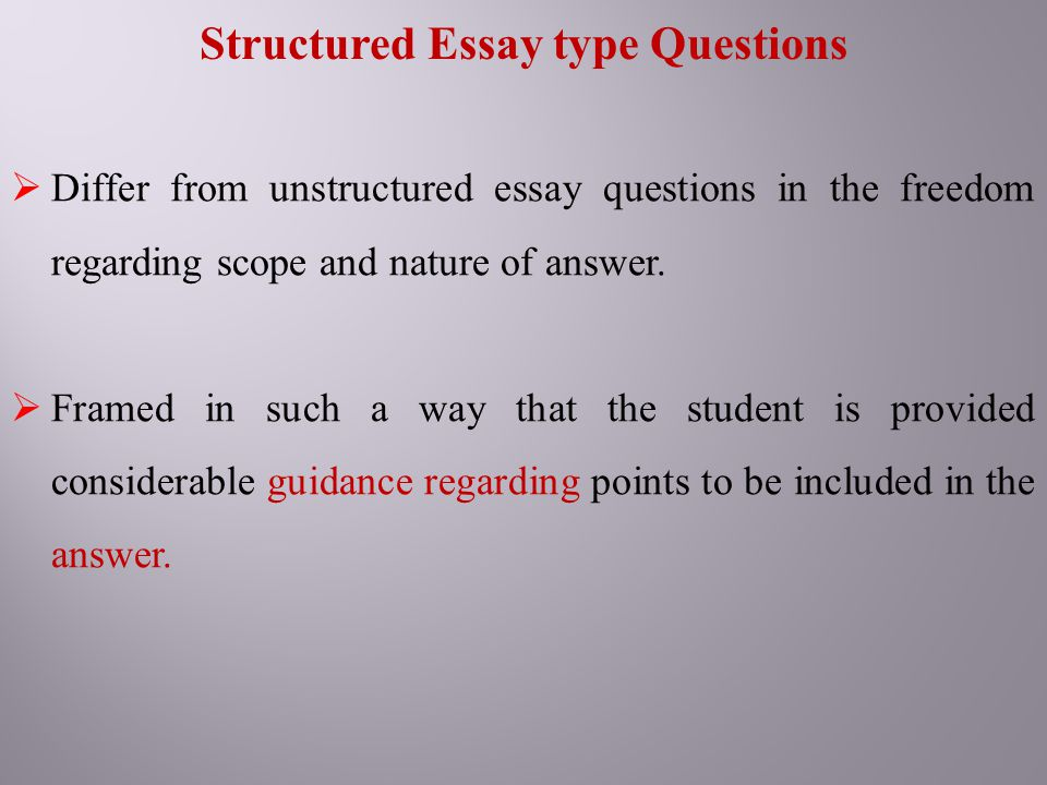 history structured essay questions To write a history essay, read the essay question carefully and use source materials to research the topic, taking thorough notes as you go next, formulate a thesis statement that summarizes your key argument in 1-2 concise sentences and create a structured outline to help you stay on topic.