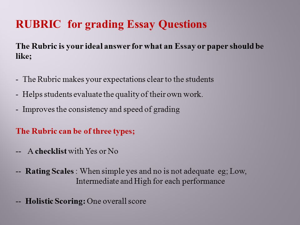 essay and rubrics Find information about writing an essay rubric and about different types of essay rubric here get all information you want with professays.