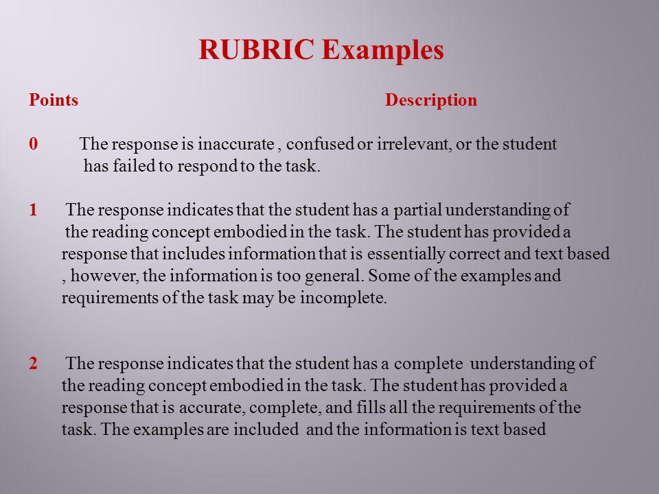 RUBRIC Examples Points Description