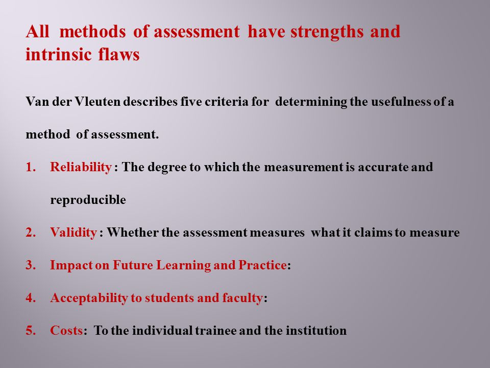 All methods of assessment have strengths and intrinsic flaws
