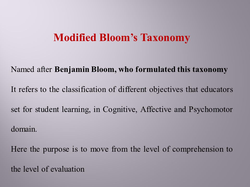 Modified Bloom's Taxonomy