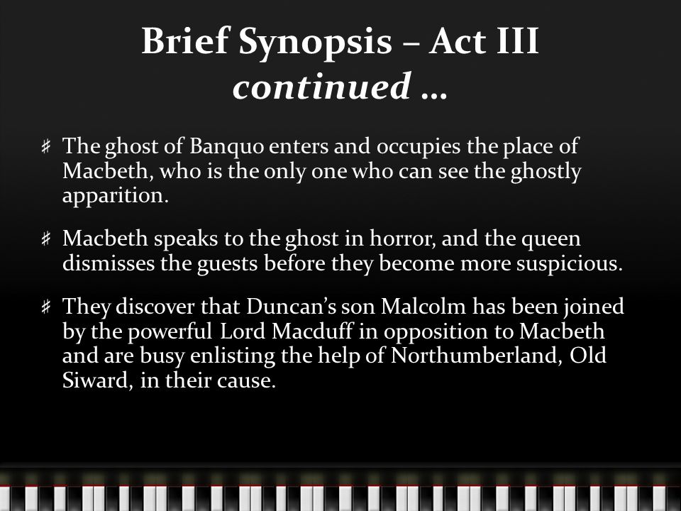 "a short summary of the story of macbeth Synopsis of macbeth on the outskirts of a battlefield, three witches meet and plot  to encounter macbeth ""after the deed is done,"" then disappear duncan, king of."