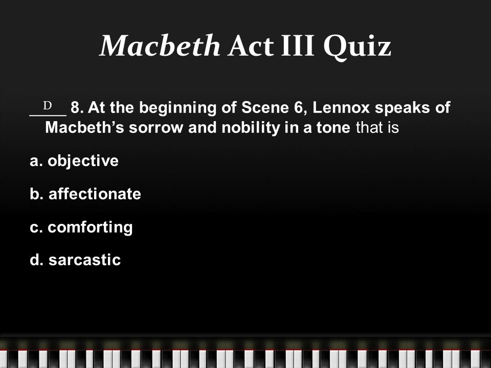 Macbeth Act III Quiz