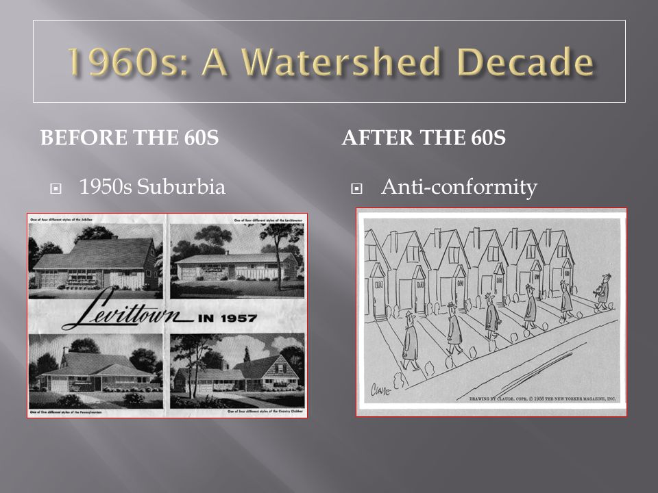 1960s: A Watershed Decade Before the 60s After the 60s 1950s Suburbia