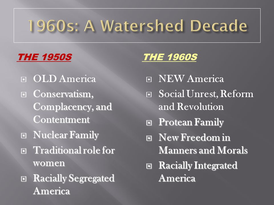1960s: A Watershed Decade OLD America