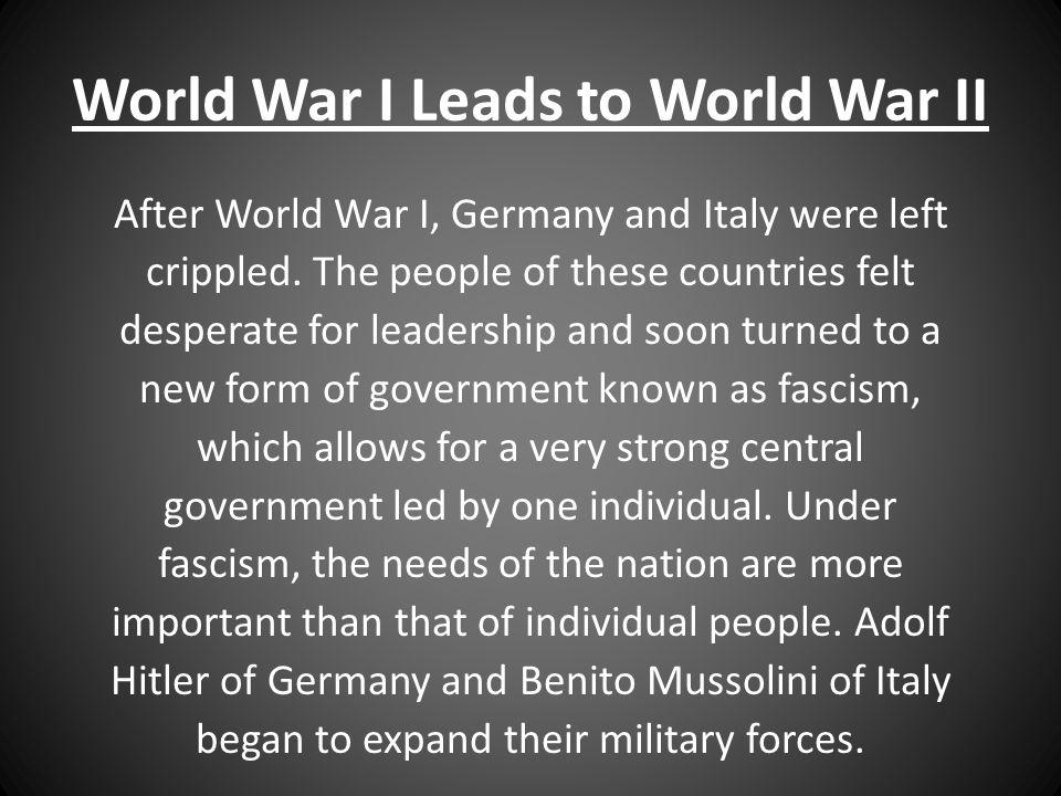 World War I Leads to World War II