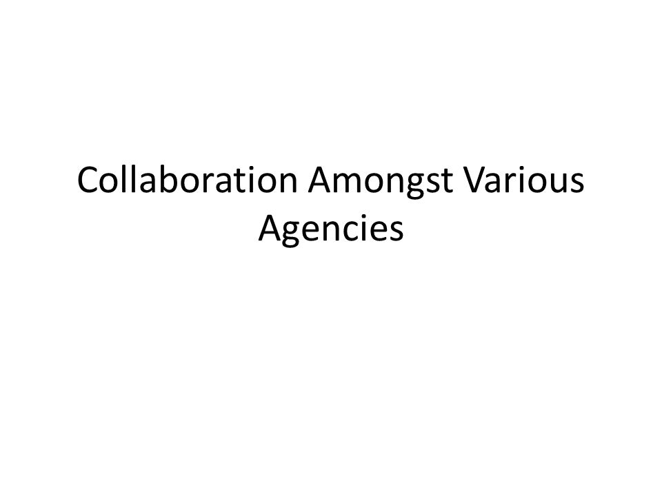 Collaboration Amongst Various Agencies