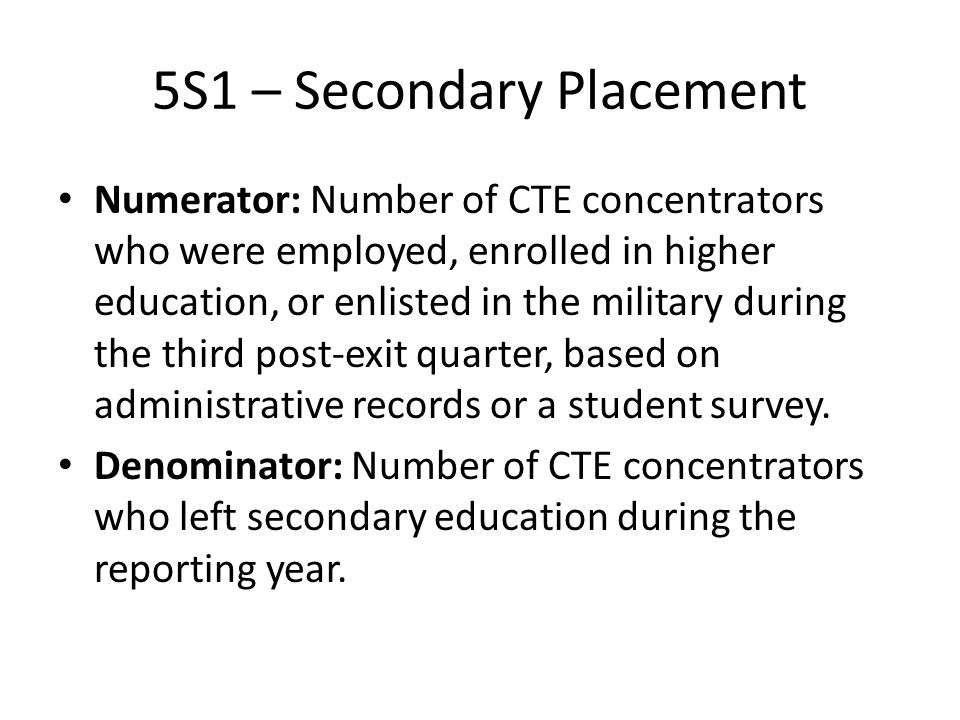 5S1 – Secondary Placement