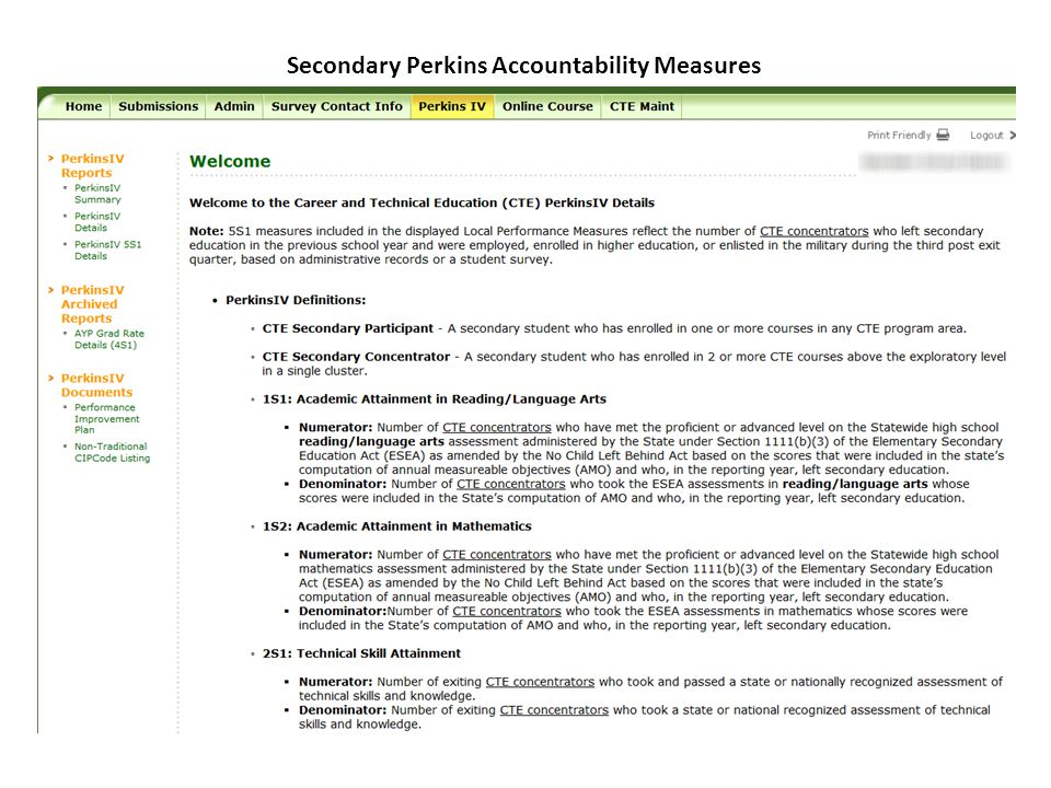 Secondary Perkins Accountability Measures