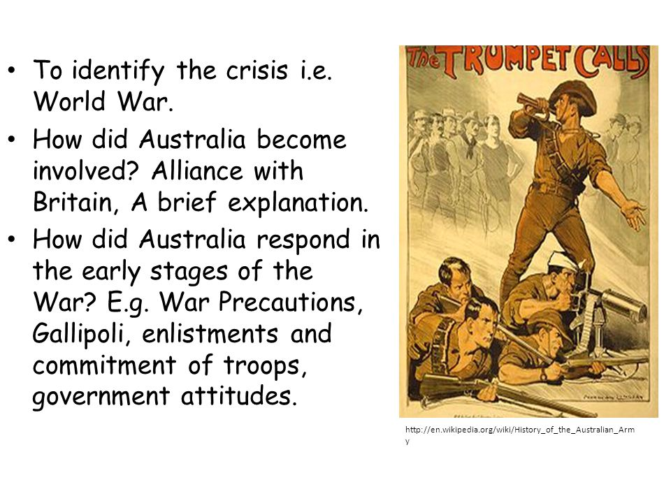 To identify the crisis i.e. World War.