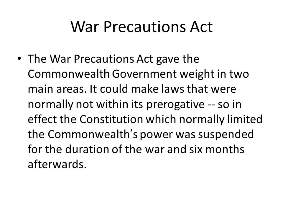 War Precautions Act