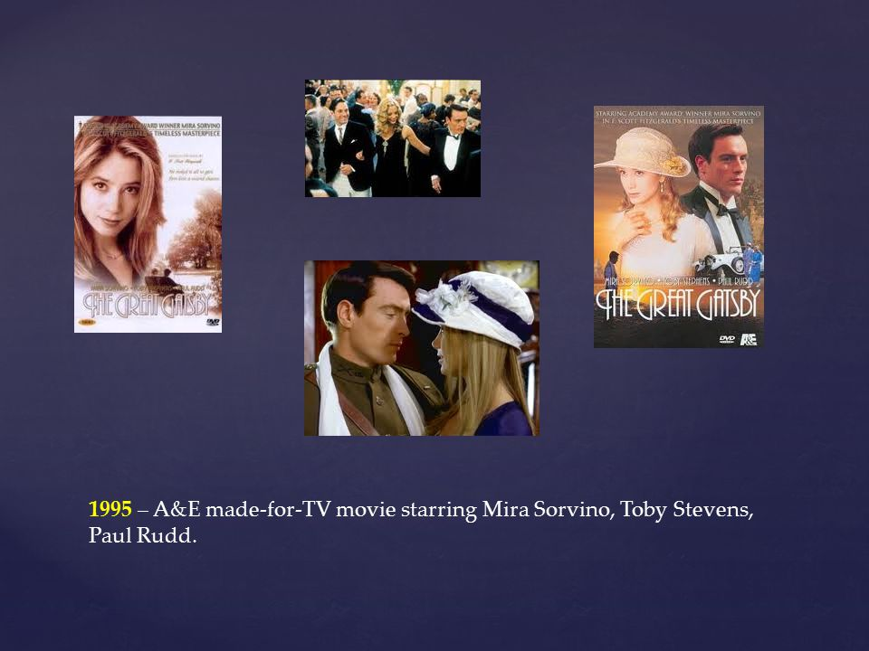1995 – A&E made-for-TV movie starring Mira Sorvino, Toby Stevens, Paul Rudd.