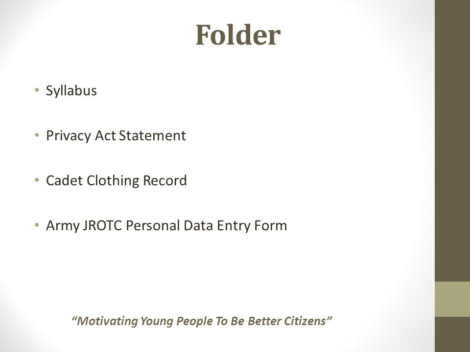 Folder Syllabus Privacy Act Statement Cadet Clothing Record