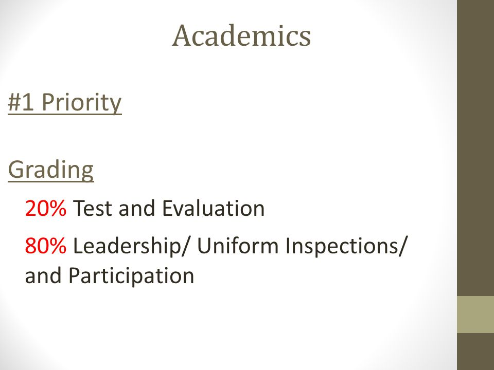 Academics #1 Priority Grading 20% Test and Evaluation