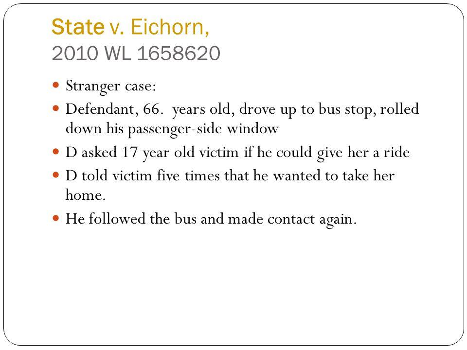State v. Eichorn, 2010 WL 1658620 Stranger case: