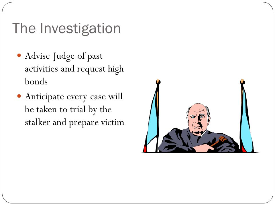 The Investigation Advise Judge of past activities and request high bonds.