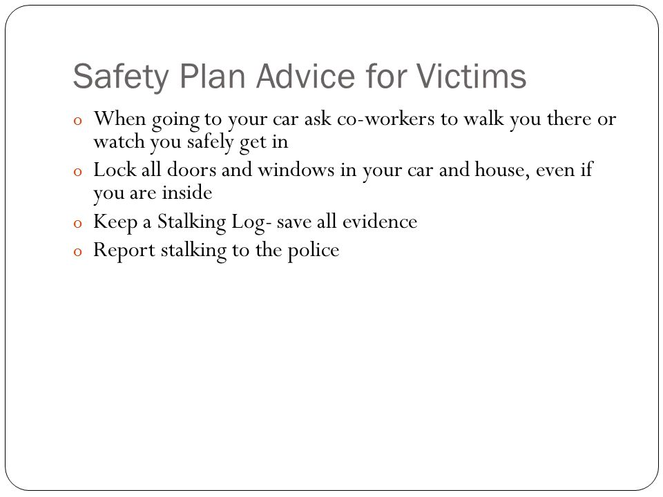Safety Plan Advice for Victims