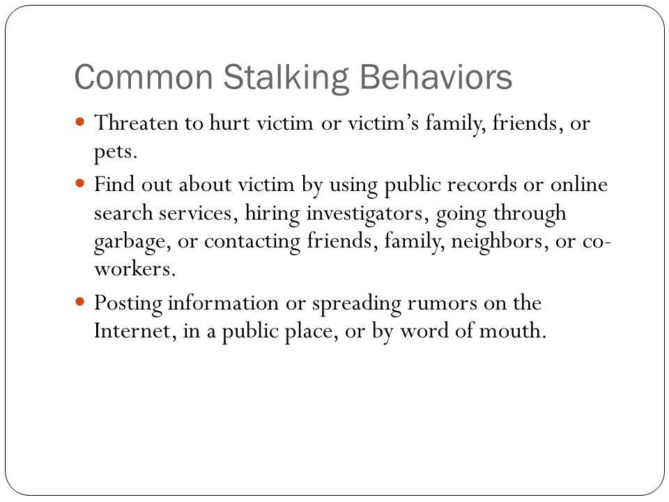 Common Stalking Behaviors