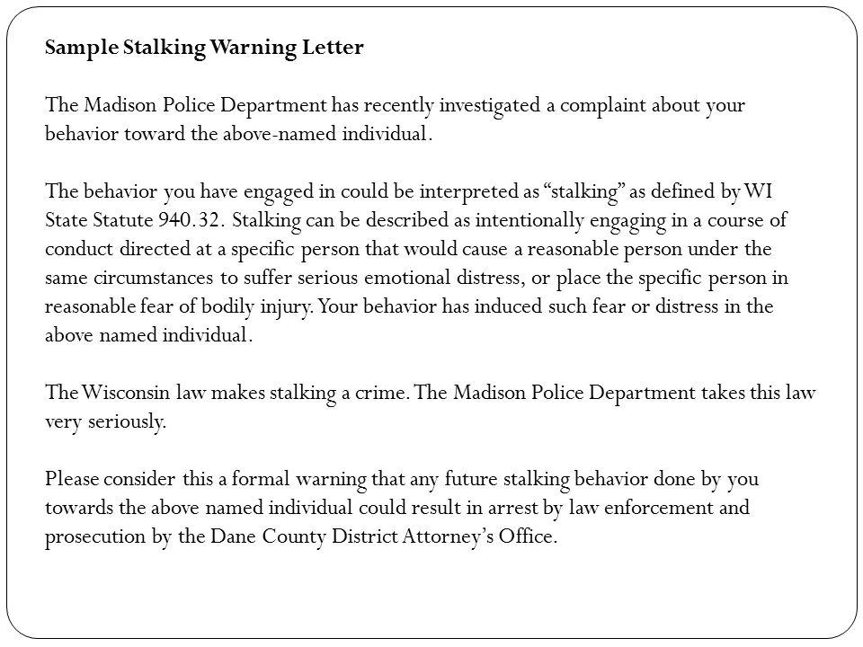 Sample Stalking Warning Letter
