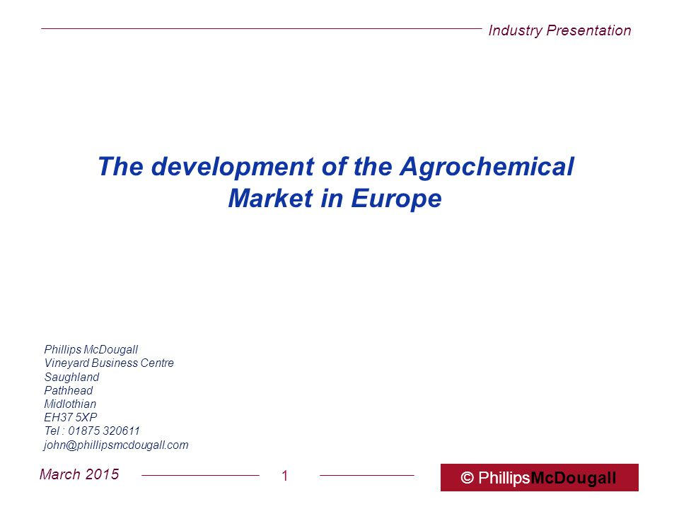 The development of the Agrochemical Market in Europe