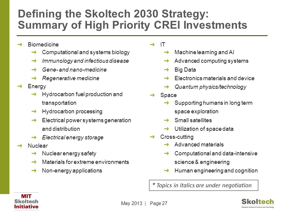 Defining the Skoltech 2030 Strategy: Summary of High Priority CREI Investments