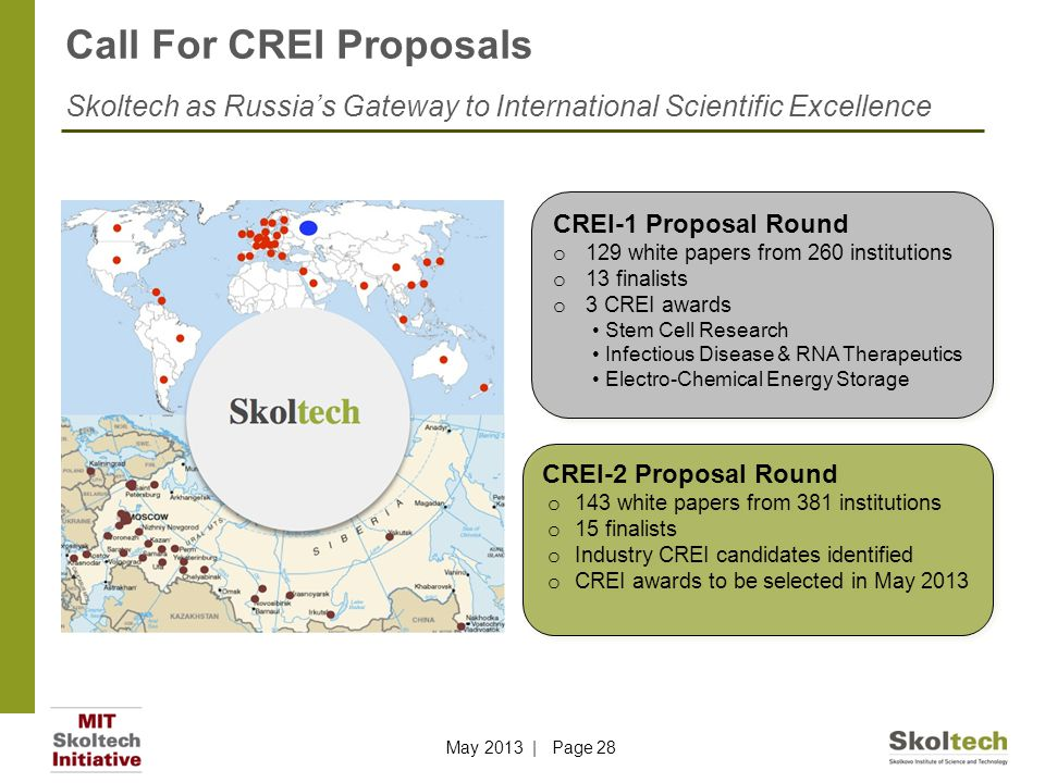 Call For CREI Proposals Skoltech as Russia's Gateway to International Scientific Excellence