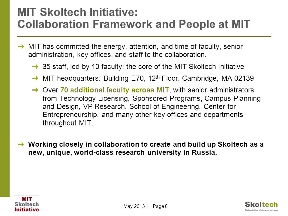 MIT Skoltech Initiative: Collaboration Framework and People at MIT