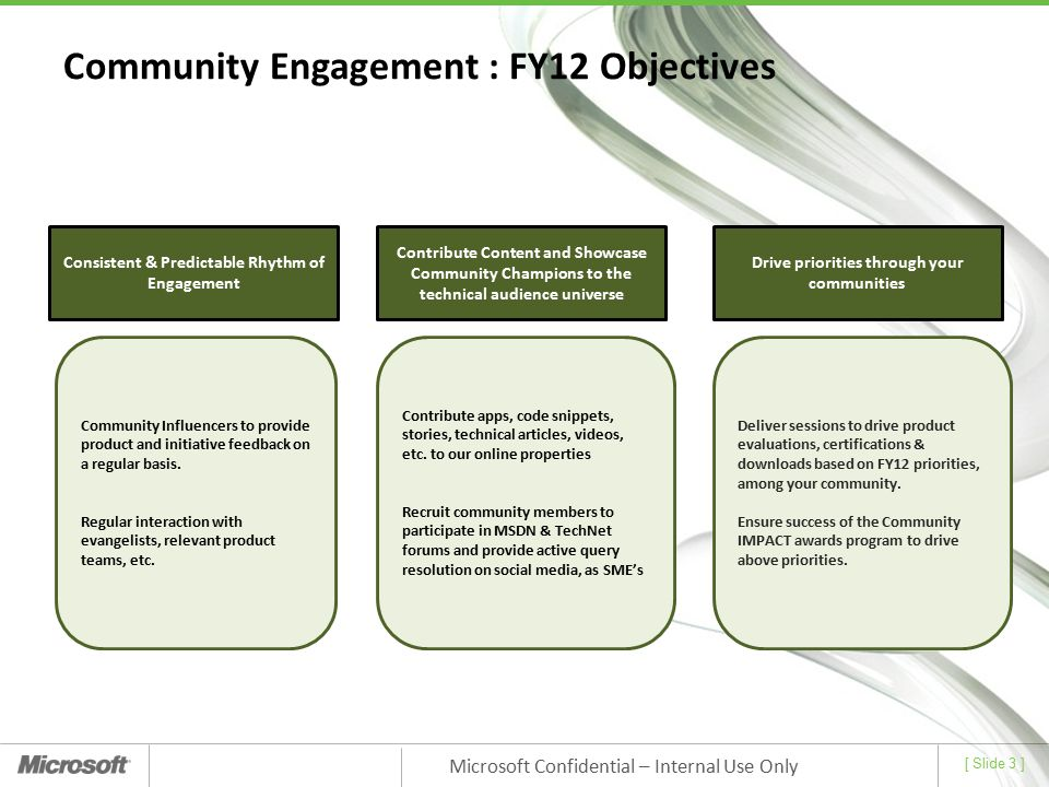 Community Engagement : FY12 Objectives