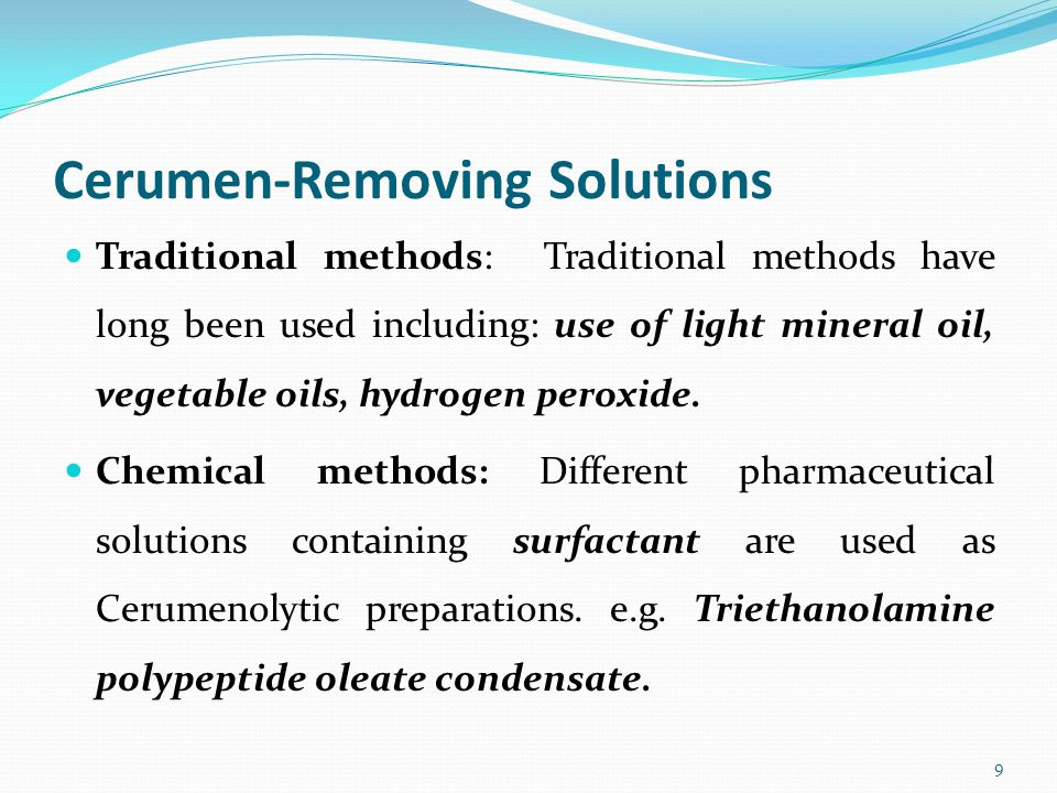 Cerumen-Removing Solutions