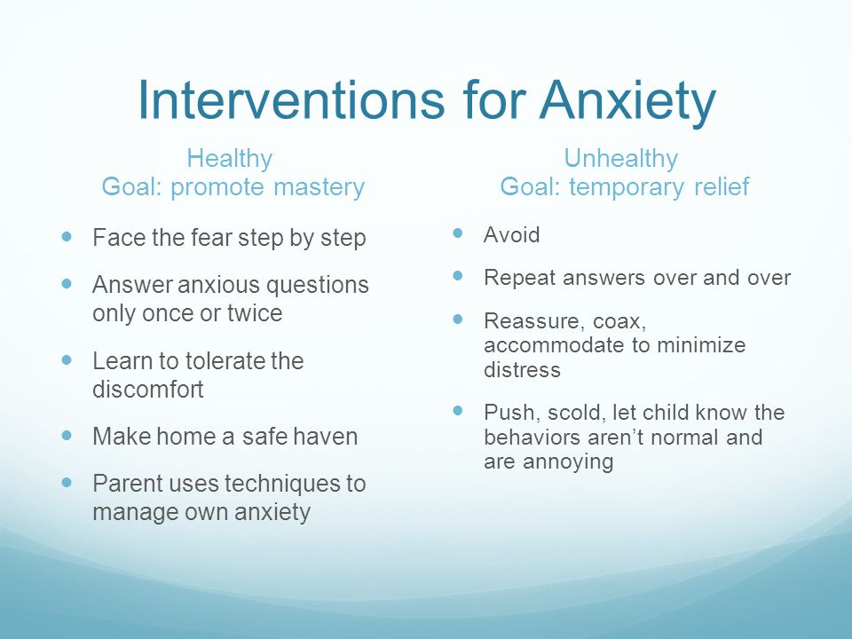 Interventions for Anxiety
