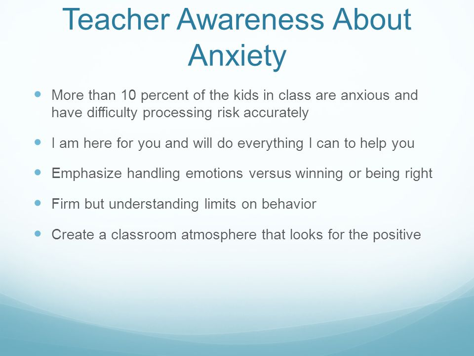 Teacher Awareness About Anxiety
