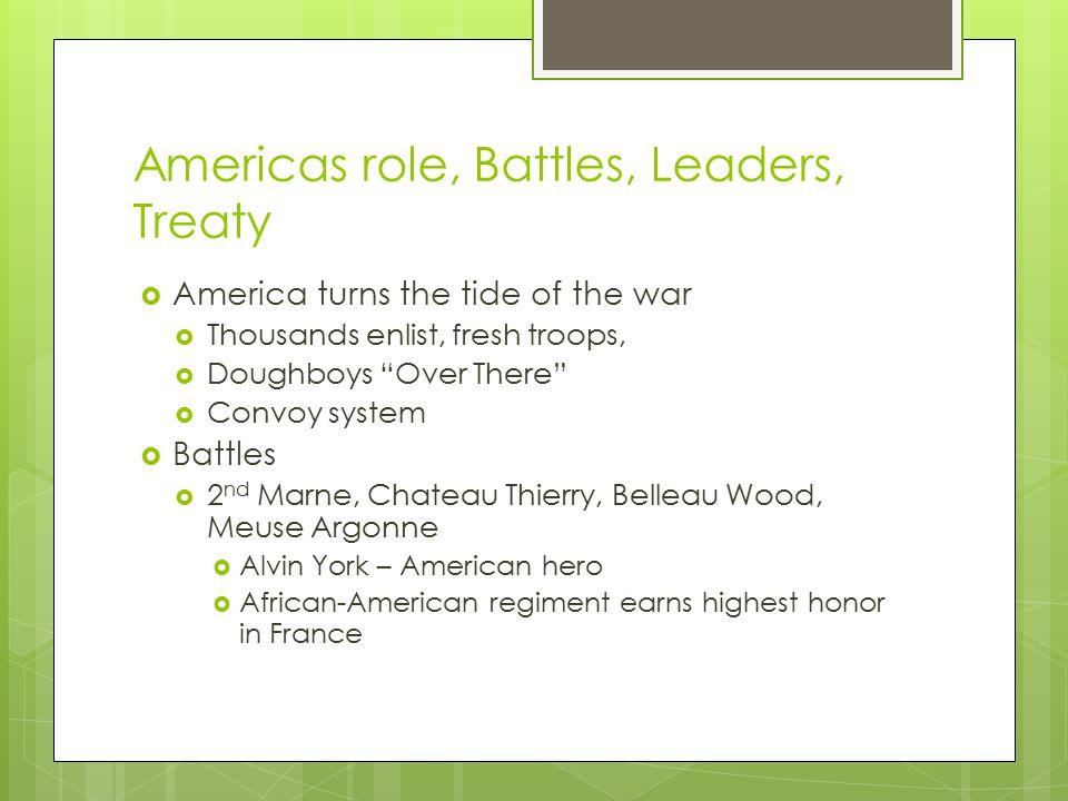 Americas role, Battles, Leaders, Treaty