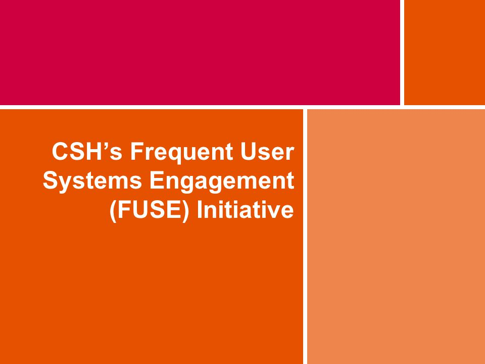 CSH's Frequent User Systems Engagement (FUSE) Initiative