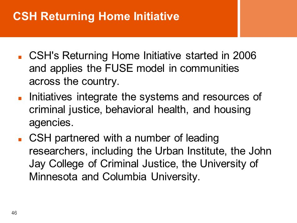 CSH Returning Home Initiative