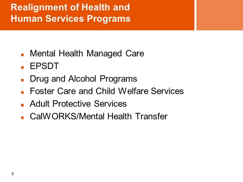 Realignment of Health and Human Services Programs