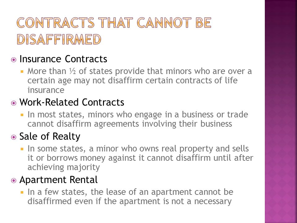 Contracts that cannot be disaffirmed