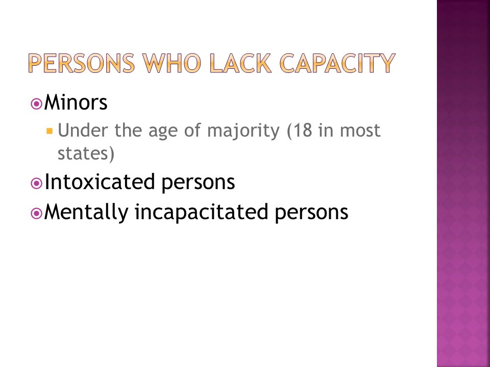 Persons who lack capacity