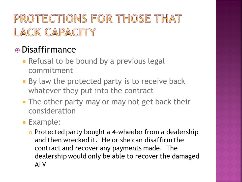 Protections for those that lack capacity