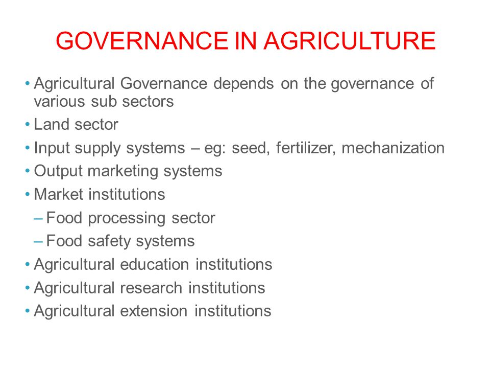 Governance in Agriculture