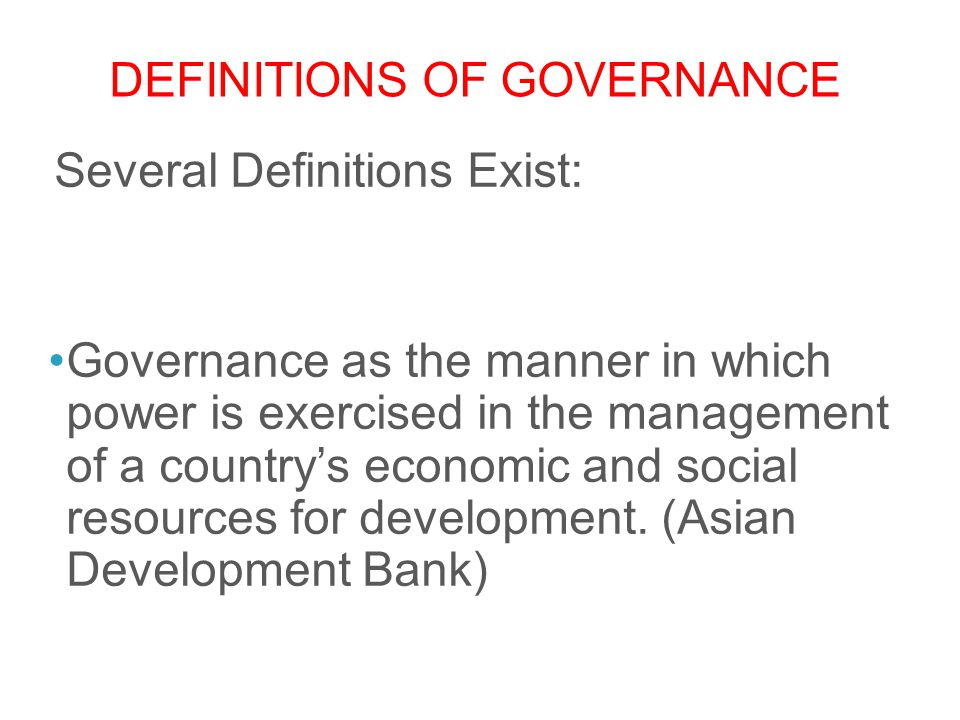 Definitions of Governance