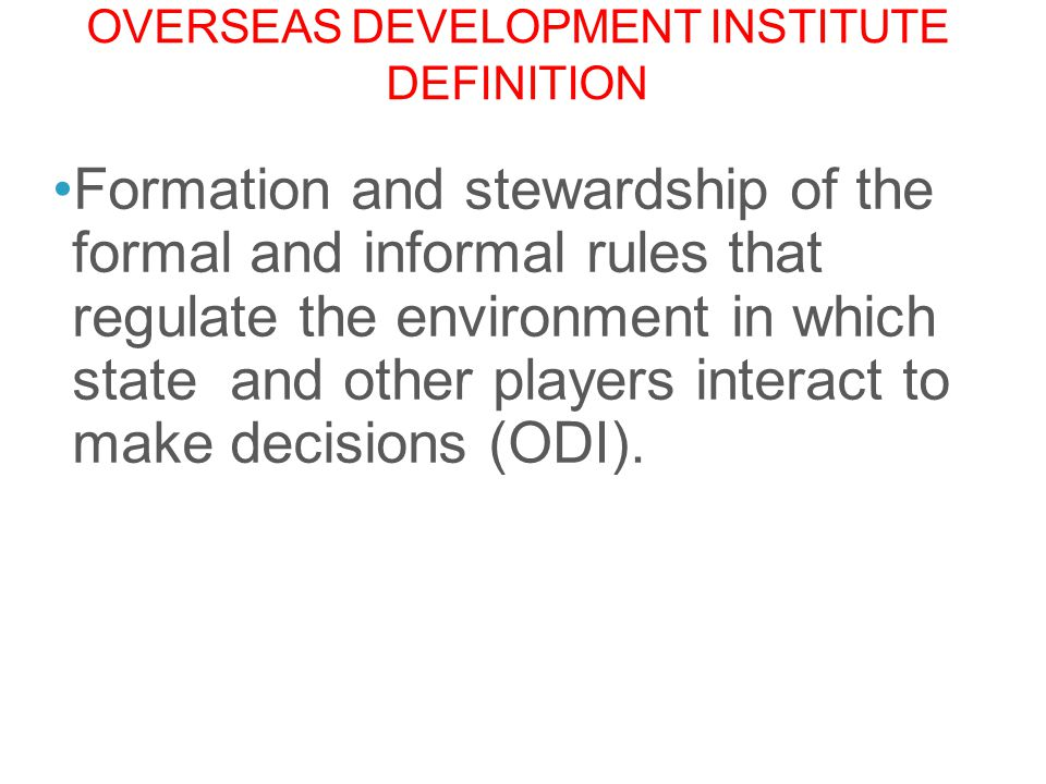 Overseas Development institute definition