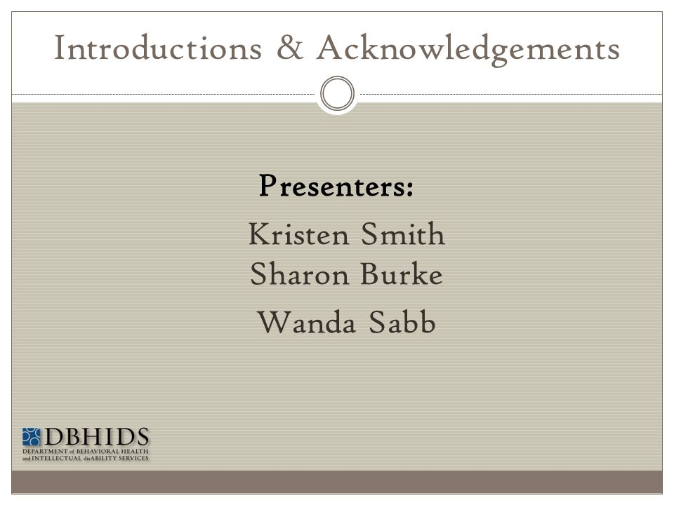 Introductions & Acknowledgements