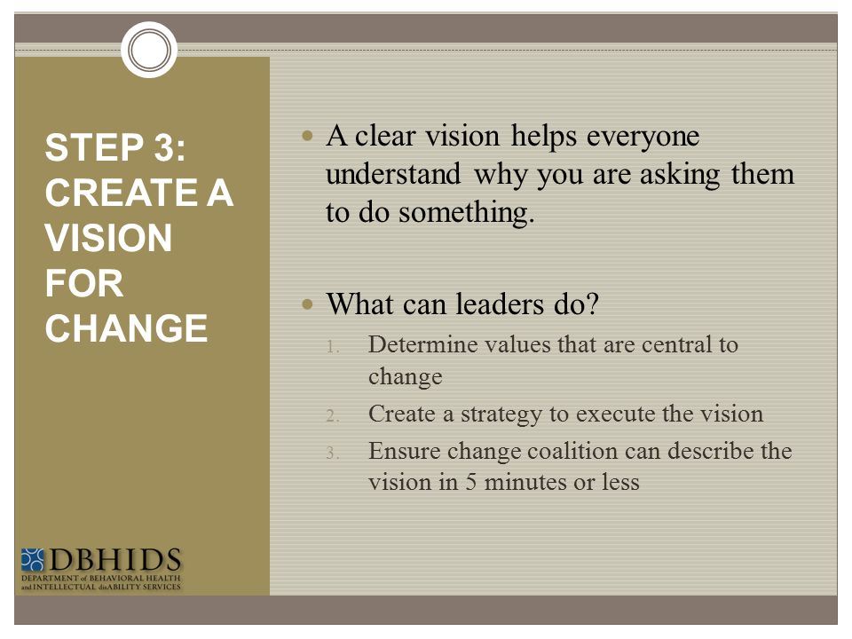 STEP 3: CREATE A VISION FOR CHANGE